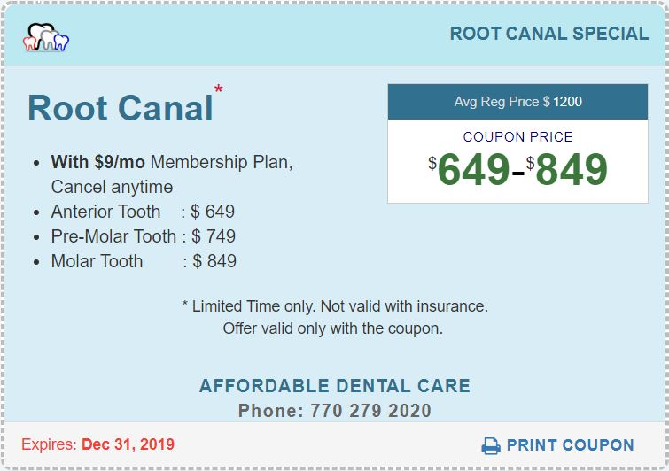Root Canal Special Coupon