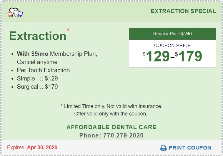 Tooth Extraction Special Coupon